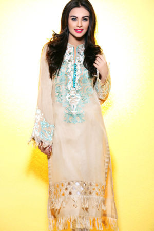 Beige Embroidered Lawn SL-188