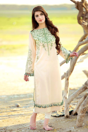 Beige Embroidered Lawn SL-247