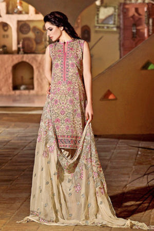 Beige Premium Embroidered Chiffon PM-94