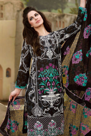 Black Premium Embroidered Chiffon PM-110