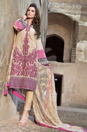 Brown Premium Embroidered Chiffon PM-116