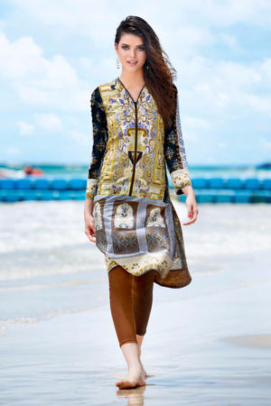 Brown Printed Lawn SL-204 A