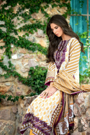 Cream Embroidered Lawn CL-138 B