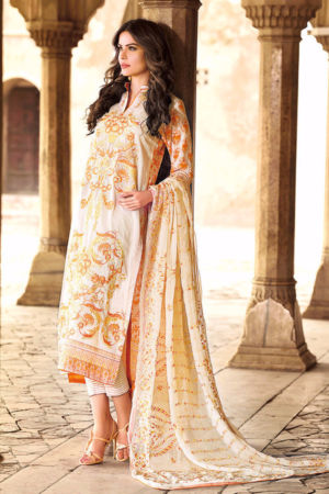 Cream Premium Embroidered Chiffon PM-119