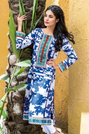 Dark Blue Printed Lawn SL-218
