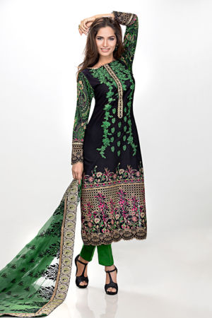 Dark Green Premium Embroidered Chiffon PM-124