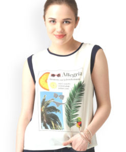 Marie Claire Women White Printed Round Neck T-shirt