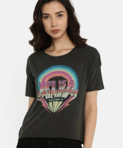 ONLY Women Charcoal Grey Printed Round Neck T-shirt