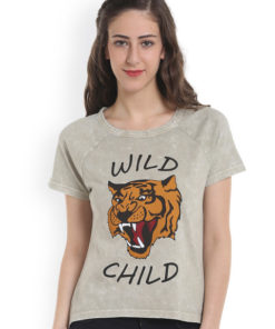ONLY Women Grey Printed Round Neck T-Shirt 1