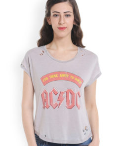 ONLY Women Grey Printed Round Neck T-shirt