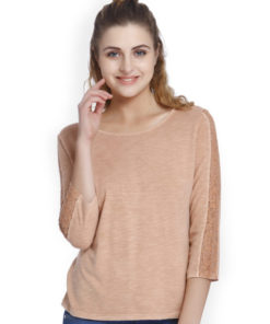 ONLY Women Peach-Coloured Solid Round Neck T-shirt